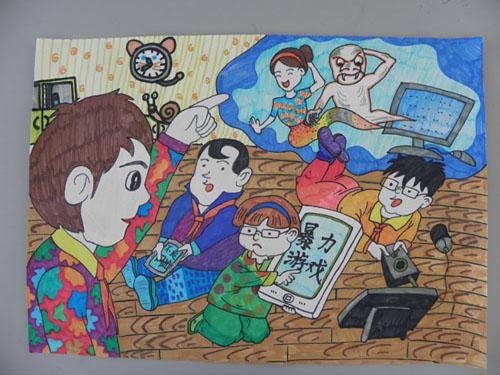 《平安自护我能行——网络安全记心间》 霍子源-威海自护教育绘画比