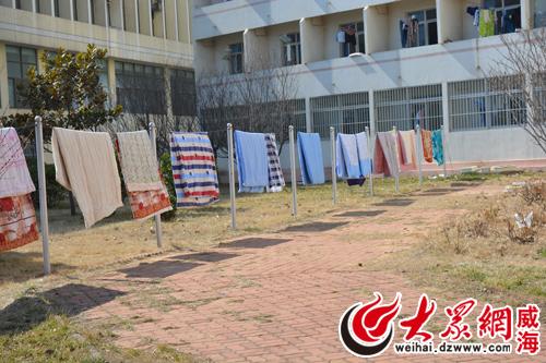 山大 威海 迎开学季 学生 花式 晒棉被图片
