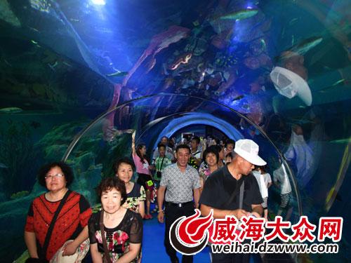 军休中心组织全体军休干部及家属近400人参观游览了威海华夏城海洋馆